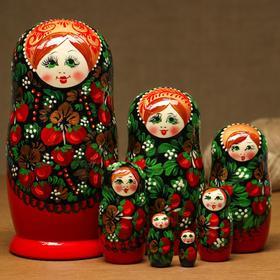 """Матрёшка """"Ягоды"""", чёрно-красная, прямая, 7-ми кукольная"""