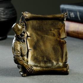 "Подставка для визиток ""Мастер"" состаренная латунь, 10х6х8 см"