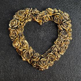 """Фоторамка """"Сердце из роз"""" состаренное золото, 15х15 см"""