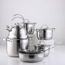 Набор посуды, 6 предметов: кастрюли 2,9/3,9/8 л, чайник 2,5 л, ковш 2,1 л, сковорода d=24 см