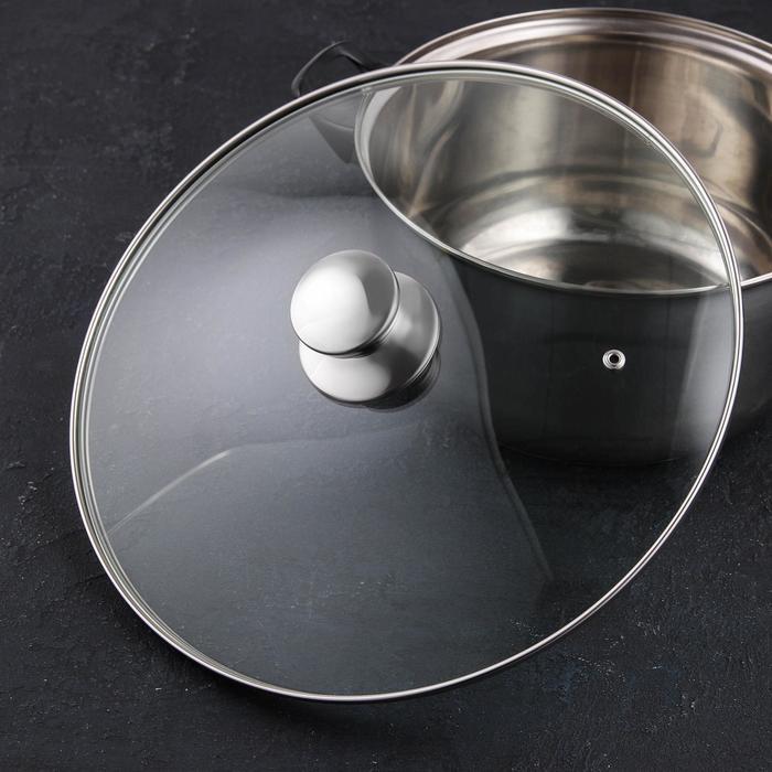 Крышка для сковороды и кастрюли стеклянная, d=32 см, с ручкой из нержавеющей стали (для духового шкафа) - фото 727264