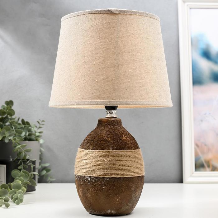 Лампа настольная 16349/1 E14 40Вт коричневый 22х22х37 см - фото 580658