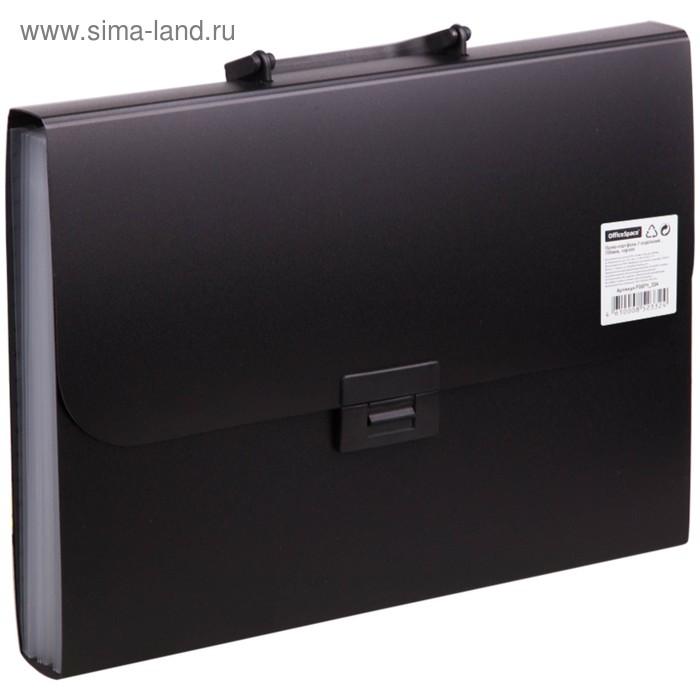 Папка-портфель А4, 7 отделений, 700мкм, черная
