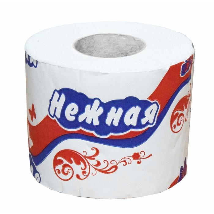 """Туалетная бумага """"Нежная"""" со втулкой, белая, 2 слоя, 1 шт."""