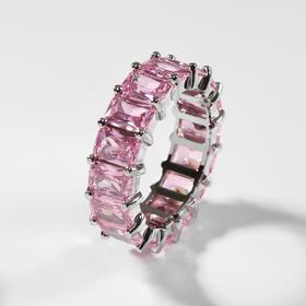 """Кольцо """"Богатство"""" квадратные кристаллы, цвет розовый в серебре, размер 18"""