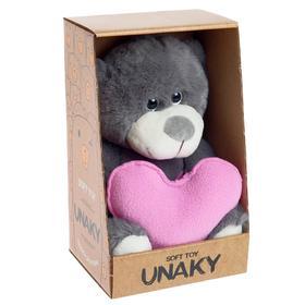 Мягкая игрушка «Медвежонок Сильвестр с розовым сердцем», цвет серый, 26 см