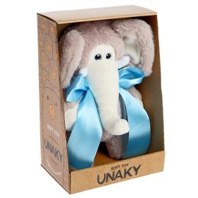 Мягкая игрушка «Слоник Мо с голубым бантом», 24 см