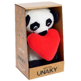 Мягкая игрушка «Панда Елисей с красным сердцем», 21 см
