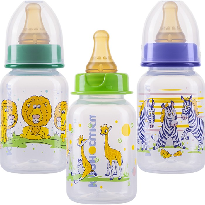 Бутылочка для кормления с латексной соской «Мои любимые птички», 125 мл, от 0 мес., цвета МИКС