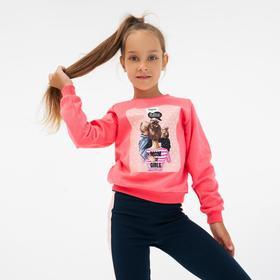Свитшот для девочки, цвет коралловый, рост 104 см