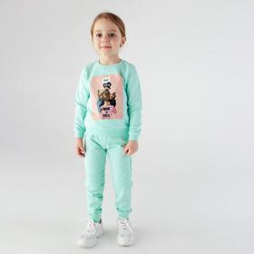 Свитшот для девочки, цвет ментол, рост 104 см