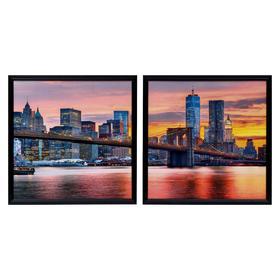 """Картина модульная """"Вечерний Нью-Йорк"""" 33*33(35х35) - 2шт., 33х66(35х70) см"""