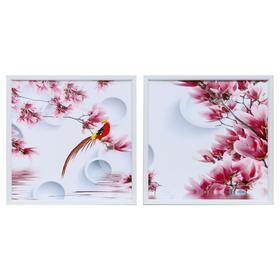 """Картина модульная """"Птичка на ветках магнолии"""" 33*33(35х35) - 2шт., 33х66(35х70) см"""