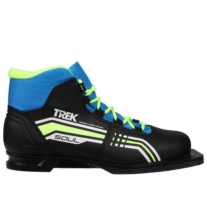 Ботинки лыжные TREK Soul IK NN75, цвет чёрный, лайм неон, размер 35