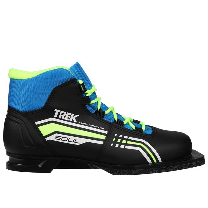Ботинки лыжные TREK Soul IK NN75, цвет чёрный, лайм неон, размер 36 - фото 1573436