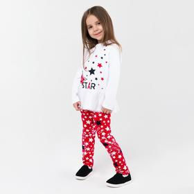 Комплект для девочки, цвет белый/красный, рост 104 см