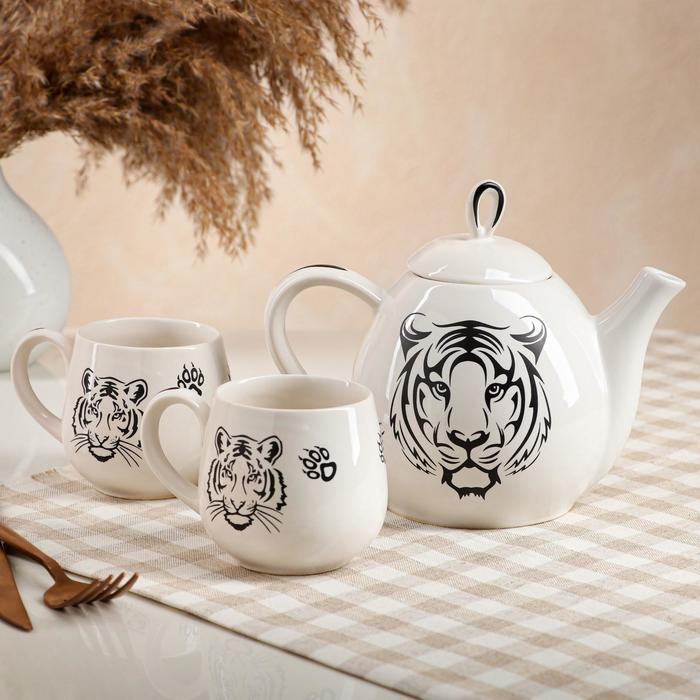 """Набор чайный """"Петелька"""", 3 предмета: чайник 0.8 л, чашки 0.22 л, цвет белый, глазурь, тигр, монохром - фото 727802"""