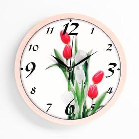 """Часы настенные """"Тюльпаны"""", плавный ход, 23.5 х 23.5 см"""