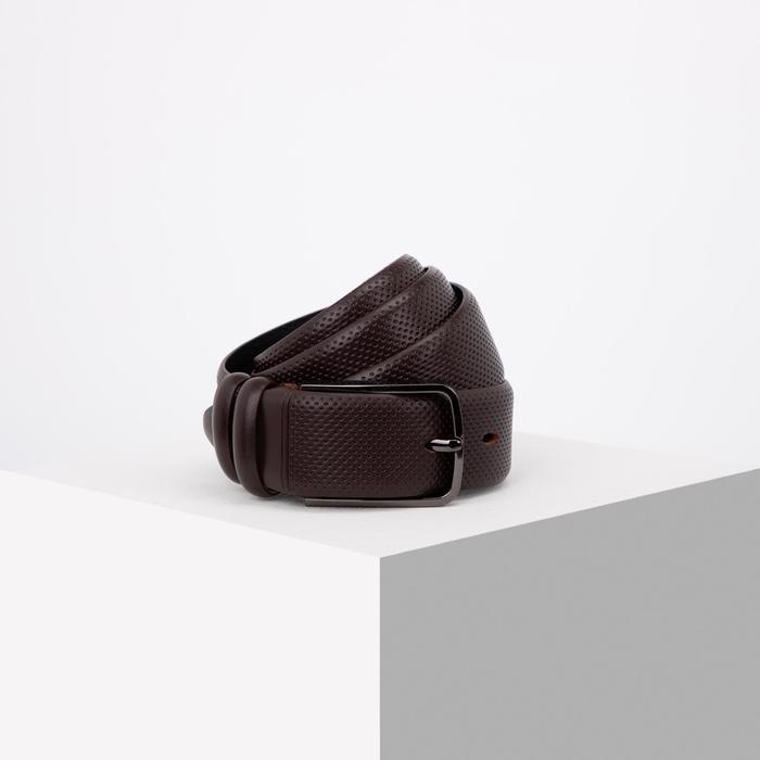 Ремень мужской, ширина 3,5 см, винт, пряжка тёмный металл, цвет коричневый - фото 808660