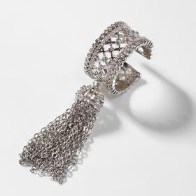 "Кольцо ""Кисточки"" ромбики, цвет белый в серебре, размер 17"