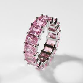"""Кольцо """"Богатство"""" квадратные кристаллы, цвет розовый в серебре, размер 19"""