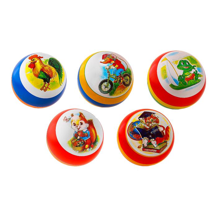 Мяч лакированный с рисунком, диаметр 200 мм, МИКС