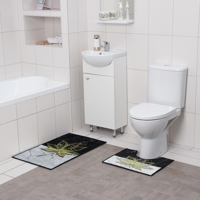 Набор ковриков для ванны и туалета Доляна «Ниа», 2 шт: 50×80, 50×40 см