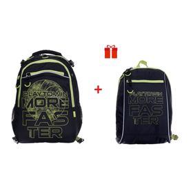 Рюкзак школьный, Grizzly RB-158, 39x28x17 см, эргономичная спинка, с мешком для обуви, чёрный