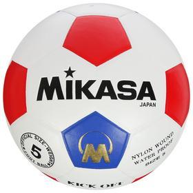 Мяч футбольный MIKASA, размер 5, ПУ, 32 панели, клееный, латексная камера, цвет белый/красный