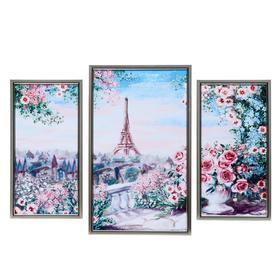 "Картина модульная ""Цветочный Париж"" 29*49 - 1 шт., 20*40 - 2шт., 50х70 см"