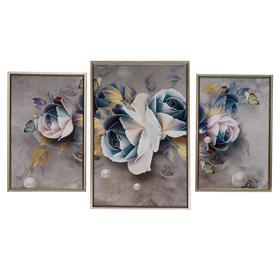 """Картина модульная """"Бело-синие розы"""" 39*59 - 1шт., 30*47 - 2шт., 60х100 см"""