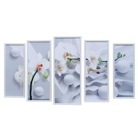 "Картина модульная ""Орхидея на белом"" 23*59 - 1шт., 20*53 - 2шт., 17*47 - 2шт., 60х100 см"