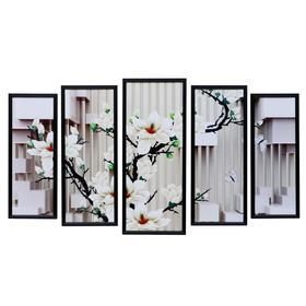 "Картина модульная ""Белые ветви"" 23*59 - 1шт., 20*53 - 2шт., 17*47 - 2шт., 60х100 см"