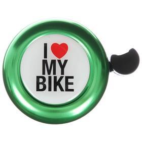 Звонок велосипедный I love my bike, цвет зелёный - фото 7271538