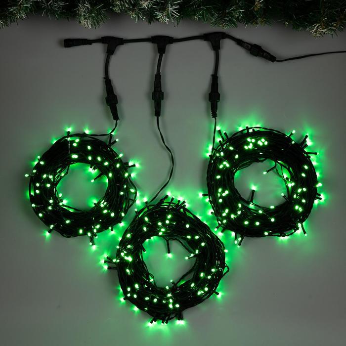 """Гирлянда """"Клип-лайт"""" 3 нити по 20 м , IP44, УМС, тёмная нить, 399 LED, свечение зелёное, 8 режимов, 24 В - фото 7272986"""