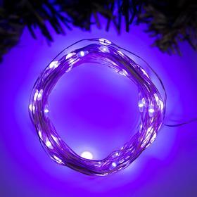 """Гирлянда """"Нить"""" 10 м роса, IP20, серебристая нить, 100 LED, свечение фиолетовое, фиксинг, 12 В - фото 7500930"""