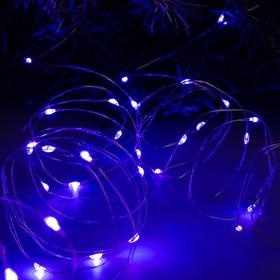 """Гирлянда """"Нить"""" 10 м роса, IP20, серебристая нить, 100 LED, свечение фиолетовое, фиксинг, 12 В - фото 7390155"""