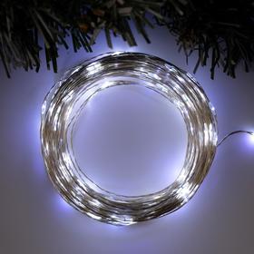 """Гирлянда """"Нить"""" 20 м роса, IP20, серебристая нить, 200 LED, свечение белое, фиксинг, 12 В - фото 7500943"""
