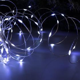 """Гирлянда """"Нить"""" 20 м роса, IP20, серебристая нить, 200 LED, свечение белое, фиксинг, 12 В - фото 7390168"""