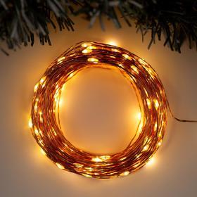 """Гирлянда """"Нить"""" 20 м роса, IP20, медная нить, 200 LED, свечение тёплое белое, фиксинг, 12 В - фото 7500946"""