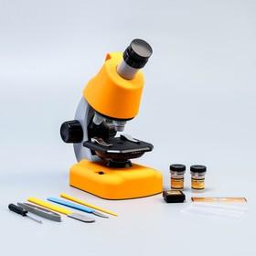 """Микроскоп """"Юный биолог"""" кратность до х1200, желтый, подсветка"""
