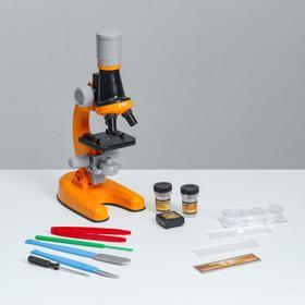 """Микроскоп """"Юный ботаник"""" кратность до х1200, оранжевый, подсветка"""
