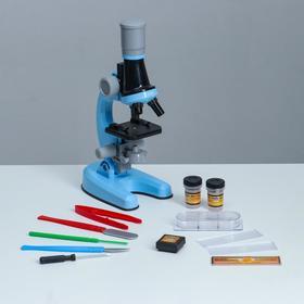 """Микроскоп """"Юный ботаник"""" кратность до х1200, синий, подсветка"""