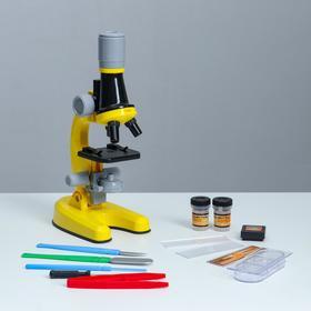 """Микроскоп """"Юный ботаник"""" кратность до х1200, желтый, подсветка"""