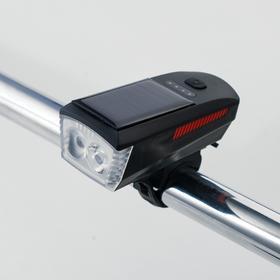 Фонарь велосипедный аккумуляторный 5 Вт с сигналом, 1800 mAh, солнечная батарея