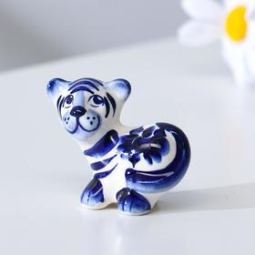 """Сувенир Тигр """"Фантик"""", 5,5 см, гжель"""