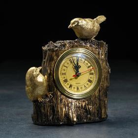 """Часы настольные """"Две птички"""", цвет золото, 14х9х20 см"""