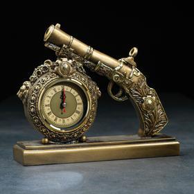 "Часы настольные ""Пистолет"" цвет золото, 25х7х21 см"