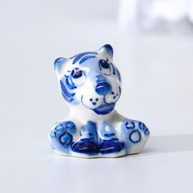 """Сувенир Тигр """"Тео"""", 3,8 см, гжель"""