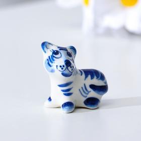 """Сувенир Тигр """"Тим"""", 4,5 см, гжель"""